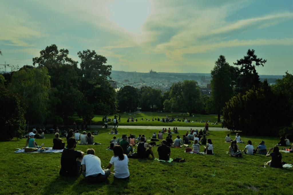 Sunset hill at Riegrovy Sady in Prague