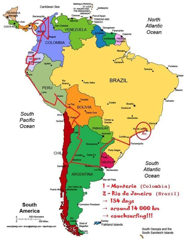 Itinerary for 5 months in South America